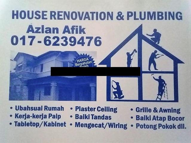 plumbing dan renovation azlan afik wangsa maju