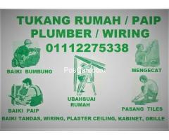tukang rumah paip plumber wiring 01112275338 azis wangsa maju